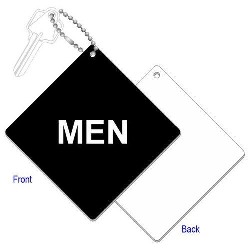Mens Restroom Key Tag - 4 Inch Diamond