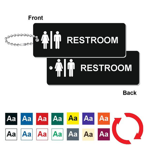 Double Sided Restroom Key Tag - 1-3/4 Inch x 4-3/4 Inch Standard Rectangle