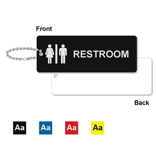 Restroom Key Tag - 1-3/4 Inch x 4-3/4 Inch Standard Rectangle