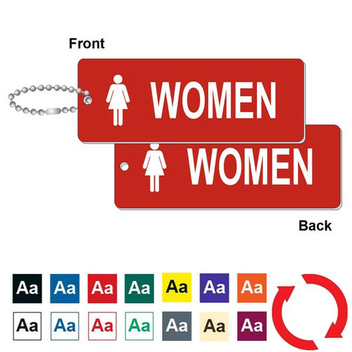 Double Sided Womens Restroom Key Tag - 1-3/4 Inch x 4-3/4 Inch Standard Rectangle