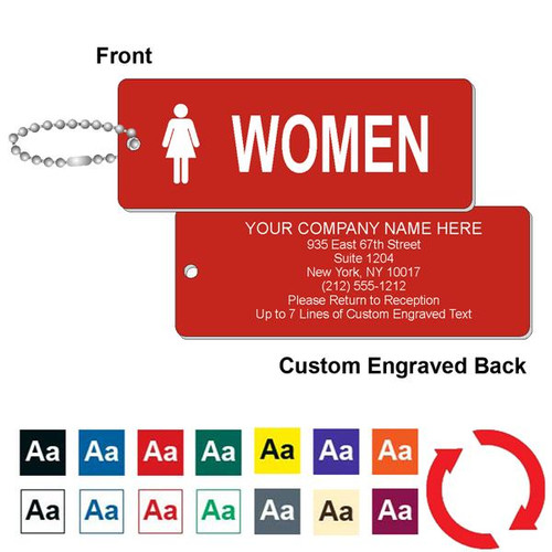 Custom Back Womens Restroom Key Tag - 1-3/4 Inch x 4-3/4 Inch Standard Rectangle