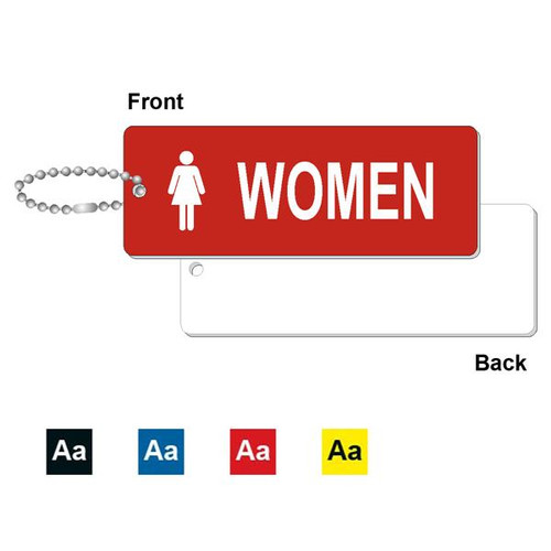 Womens Restroom Key Tag - 1-3/4 Inch x 4-3/4 Inch Standard Rectangle