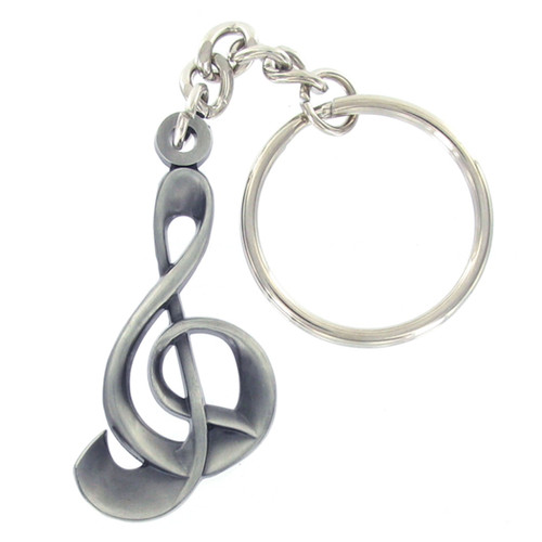 Pewter G Clef Music Note Keyring with Chain