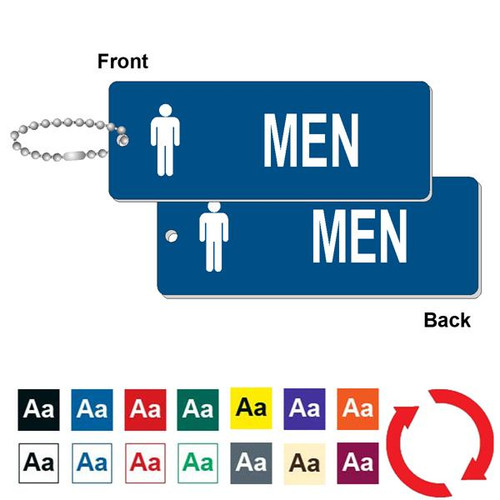 Double Sided Mens Restroom Key Tag - 1-3/4 Inch x 4-3/4 Inch Standard Rectangle
