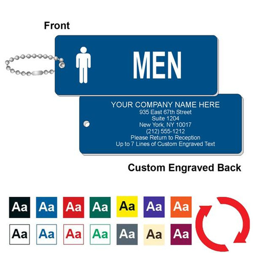 Custom Back Mens Restroom Key Tag - 1-3/4 Inch x 4-3/4 Inch Standard Rectangle