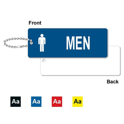 Mens Restroom Key Tag - 1-3/4 Inch x 4-3/4 Inch Standard Rectangle