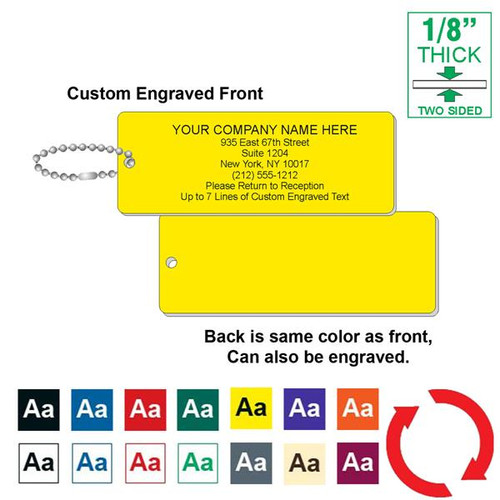 CUSTOM ENGRAVED Key Tag - 1-3/4 Inch x 4-3/4 Inch Standard Rectangle 1/8 Inch Thick