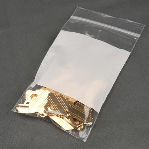 """Zip Loc Poly Bags 3"""" x 4"""" with White Block"""