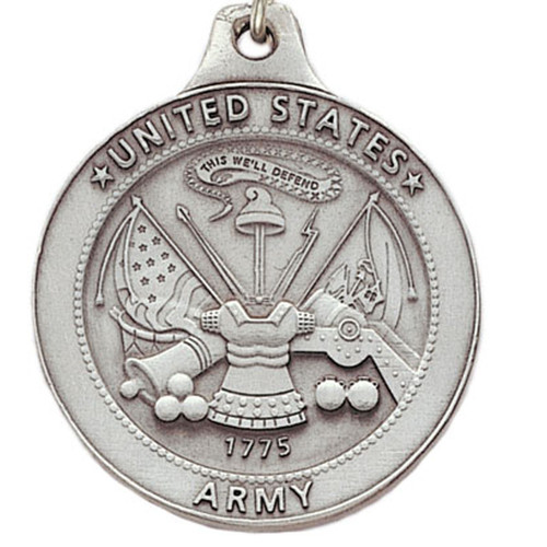 Pewter US Army Logo Keyring with Chain Close up