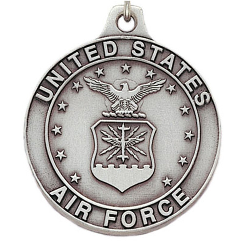 Pewter Air Force Logo Keyring with Chain Close up