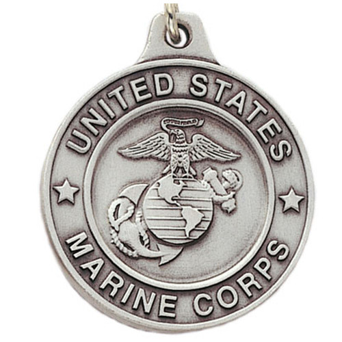 Pewter Marines Logo Keyring with Chain Close up