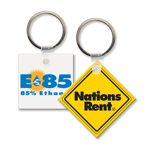 Custom Printed Soft Touch Vinyl Key Ring - Small Square