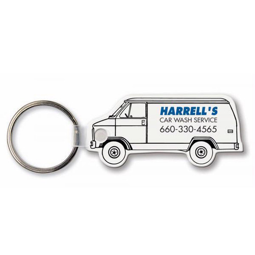 Custom Printed Soft Touch Vinyl Key Ring - Van Shape