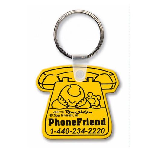 Custom Printed Soft Touch Vinyl Key Ring - Telephone