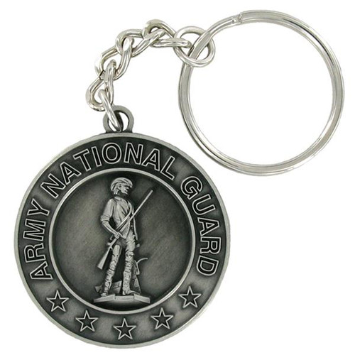 Pewter Army National Guard Keyring with Chain