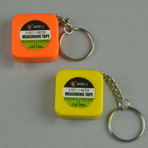 3 Foot Tape Measure Key Chain Plastic Body with Metal Tape