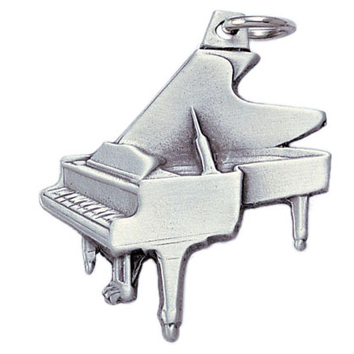 Pewter Grand Piano Keyring Close up