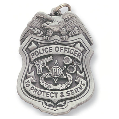 Pewter Police Officer Badge Keyring with Chain Close up