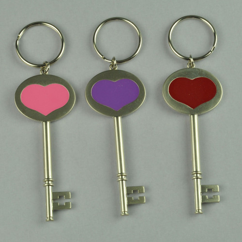 Skeleton Key Shape Keychain with Heart