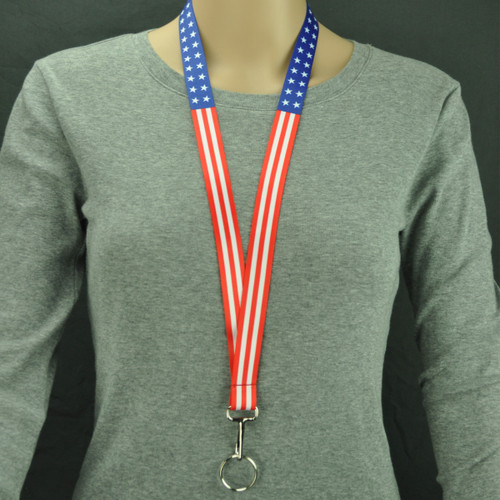 USA Striped Lanyard Key Holder