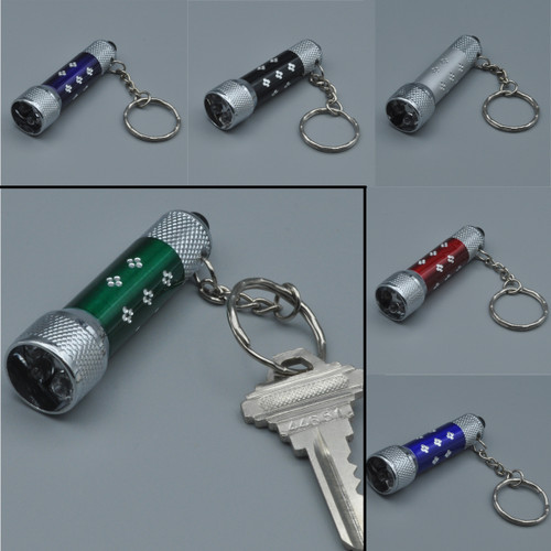 LED Pushbutton Flashlight Key Ring with 5 LEDs