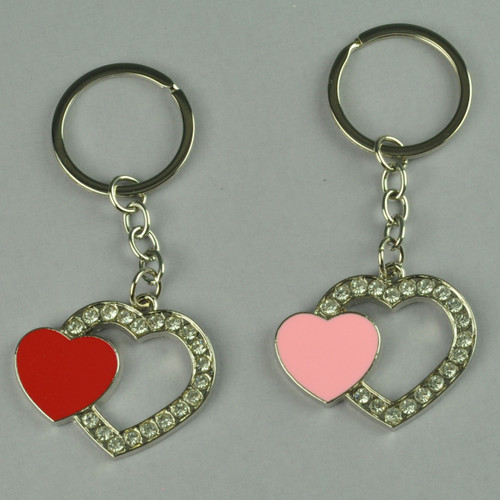 Elegant Open Heart Key Holder with Stones