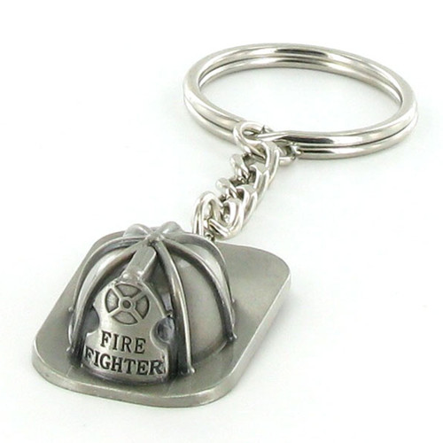 Pewter Firefighter Helmet Keyring with Chain