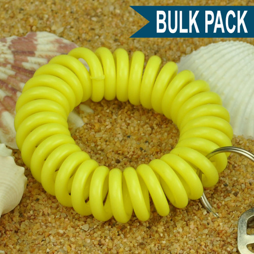 Neon Yellow Wrist Coil Spiral Keyring - 12 Pc. Bulk Pack