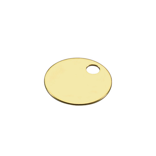 1-1/8 Inch Round Solid Brass Key Tag by Lucky Line - Imported
