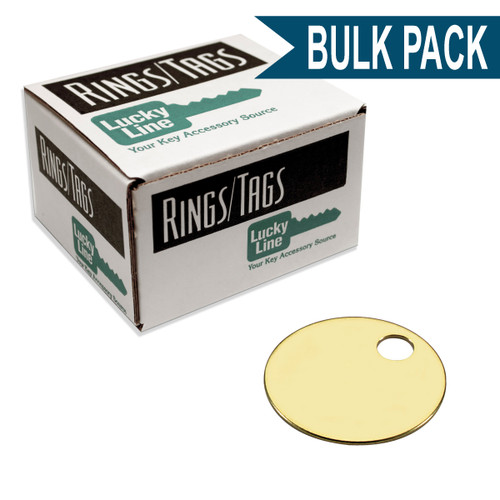 1-1/8 Inch Round Solid Brass Key Tag by Lucky Line - Imported Bulk Pack