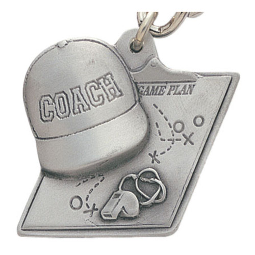 Pewter Coach Keyring with Chain