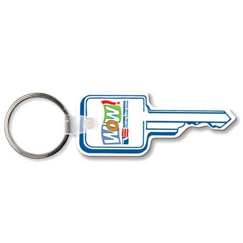 Custom Printed Soft Touch Vinyl Key Ring - Square Head Key