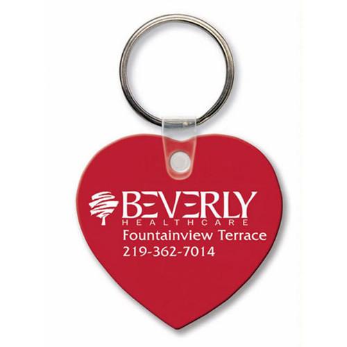 Custom Printed Soft Touch Vinyl Key Ring - Heart