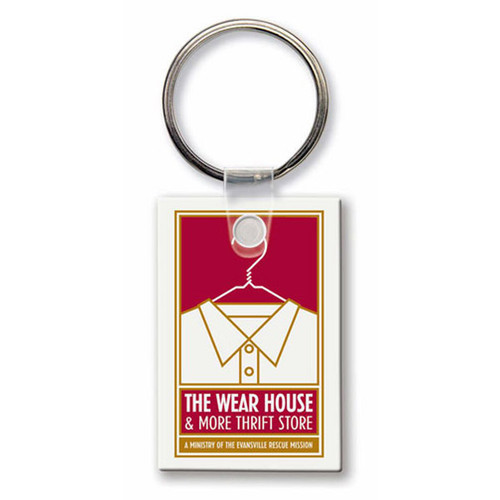 Custom Printed Soft Touch Vinyl Key Ring - Small Rectangle