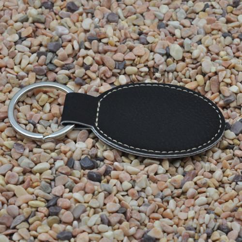 Oval Leatherette Key Fob Black