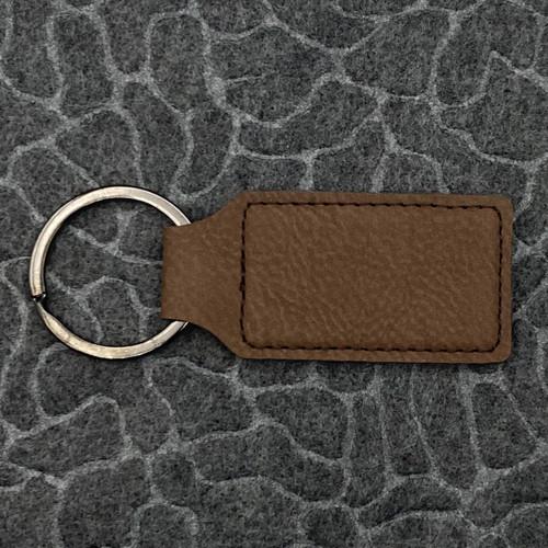 Rectangle Leatherette Key Fob Dark Brown