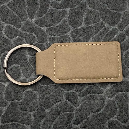 Rectangle Leatherette Key Fob Tan