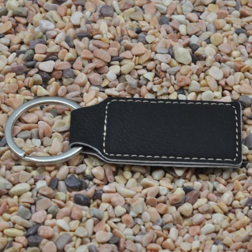 Rectangle Leatherette Key Fob Black
