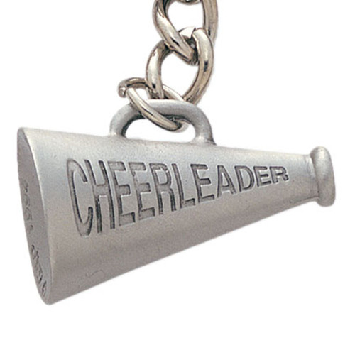Pewter Cheerleader Megaphone Keyring with Chain