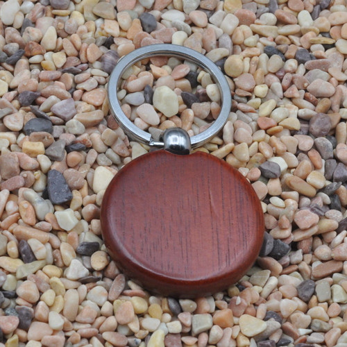 Solid Rosewood Wood Round Key Chain