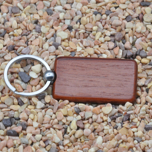 Solid Rosewood Wood Rectangle Key Chain