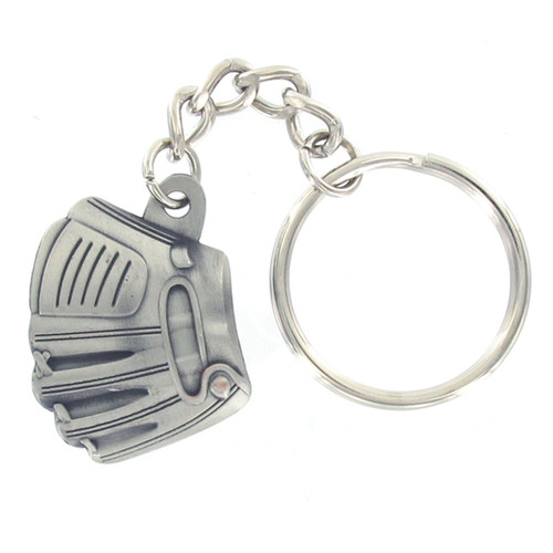 Pewter Baseball Glove and Ball Keyring with Chain