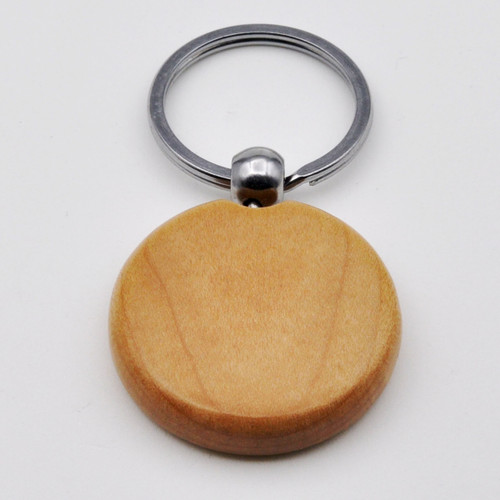 Solid Maple Wood Round Key Chain