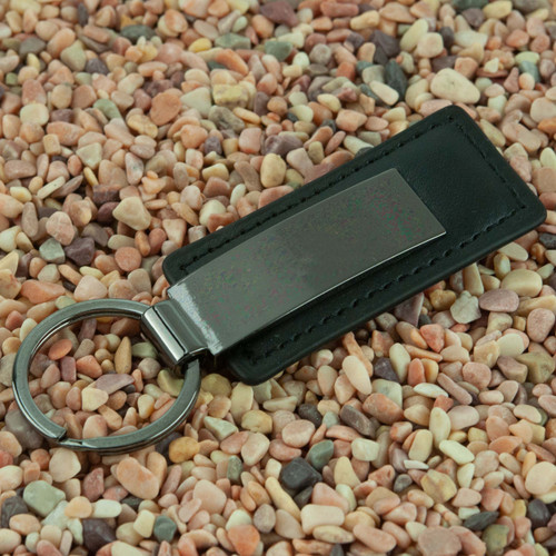 Black Faux Leather Fob with Curved Gunmetal Plate