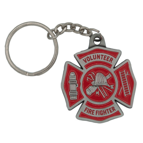 Pewter Volunteer Firefighter Keychain