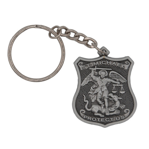 Pewter St. Michael Police Badge Keychain