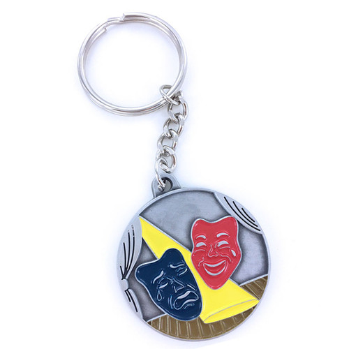 Pewter Drama Masks / Theatre Masks Keyring with Chain