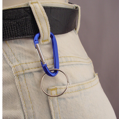Small anodized aluminum Carabiner Keychain with split key ring. In use blue climber clip clipped on belt loop