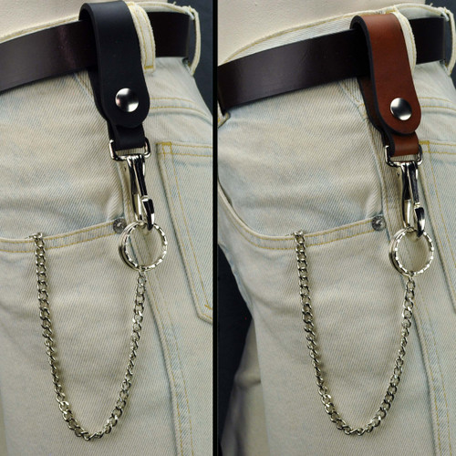 Leather Belt Key Holder Super Duty - Snap Open with Chain