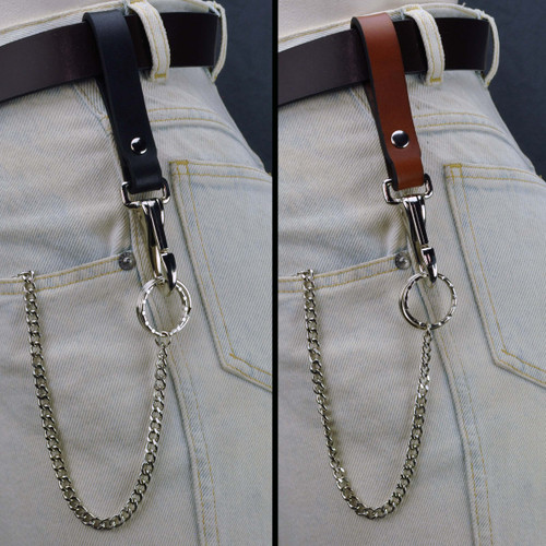 Leather Belt Key Holder Super Duty - Riveted with Chain. In use on belt. Split picture of Black leather with chrome hardware and Brown leather with chrome hardware.